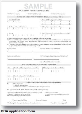 Direct Debit Arrangements Application Form