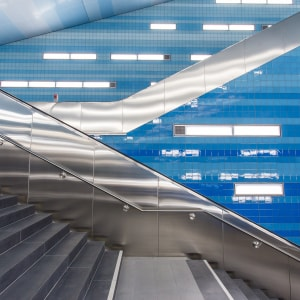 Abstract escalator stairs blue