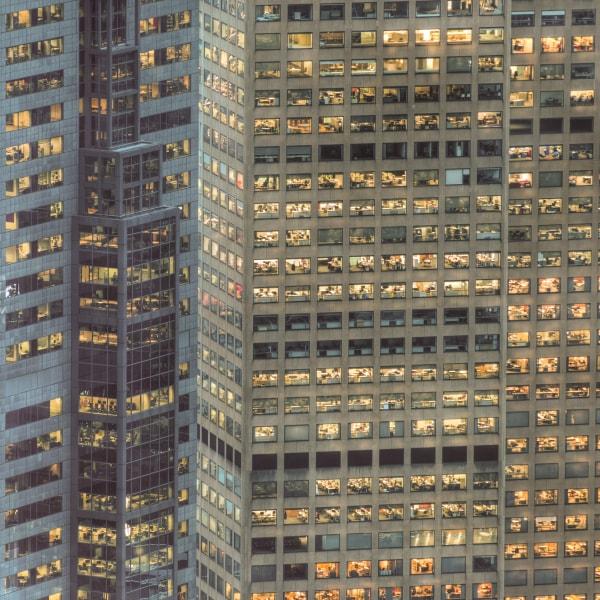 City building lights modern office
