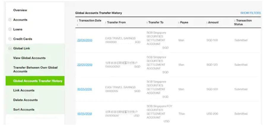 Global Accounts Transfer History