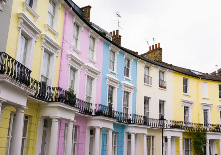 terraced houses with colourful fronts