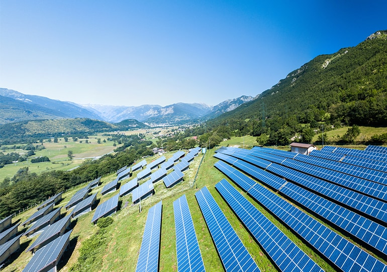 Solar farm on hillside