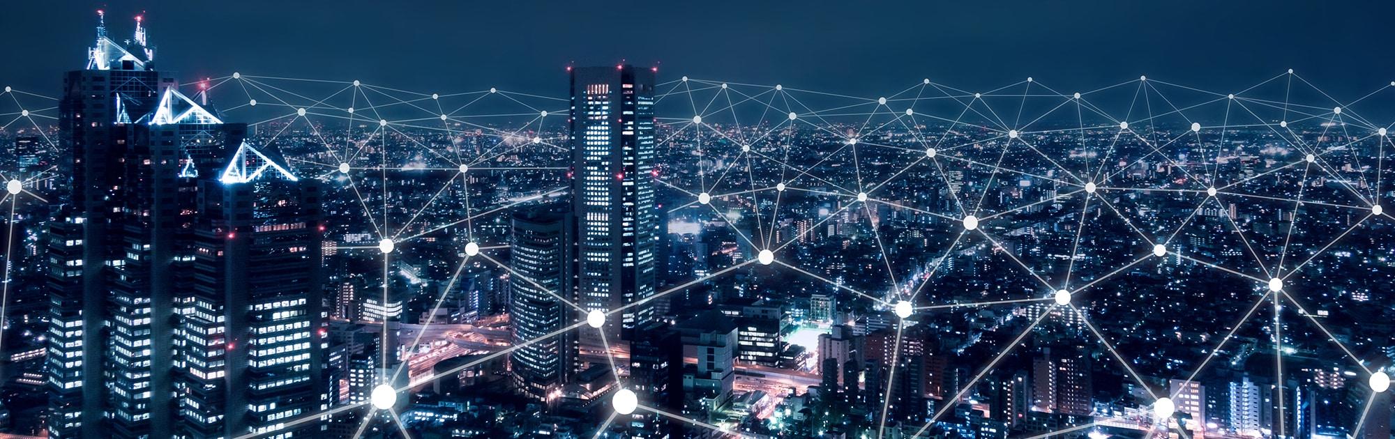 Digitised cityscape at night