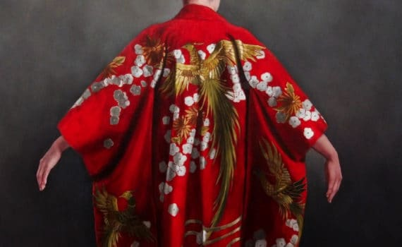 painting of red kimono