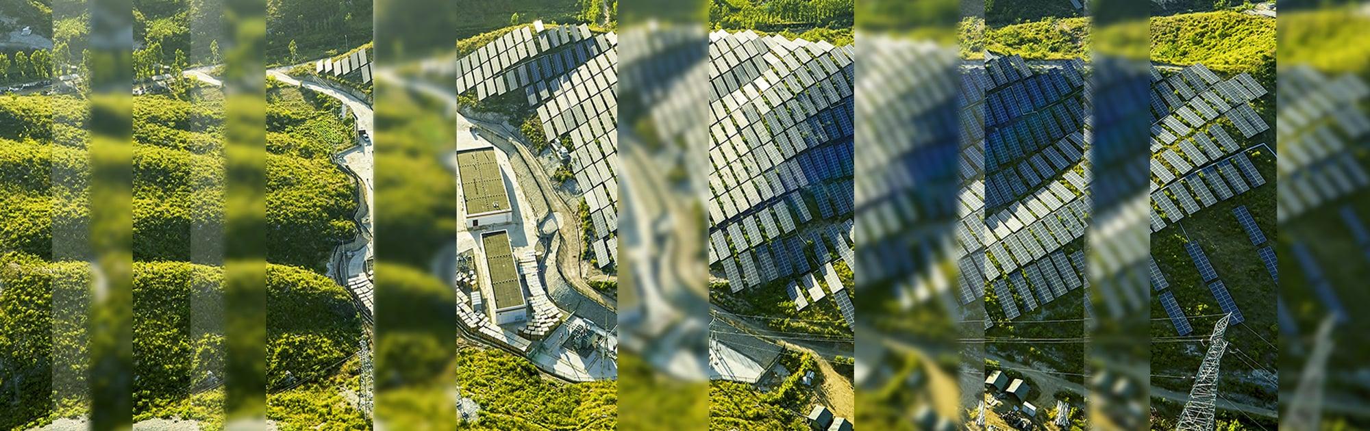 Solar farm across hillside