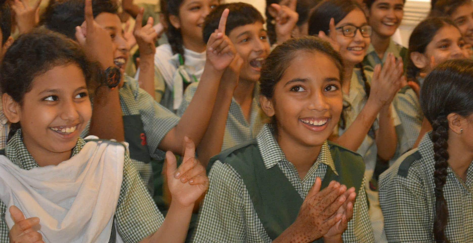 Happy children sat down