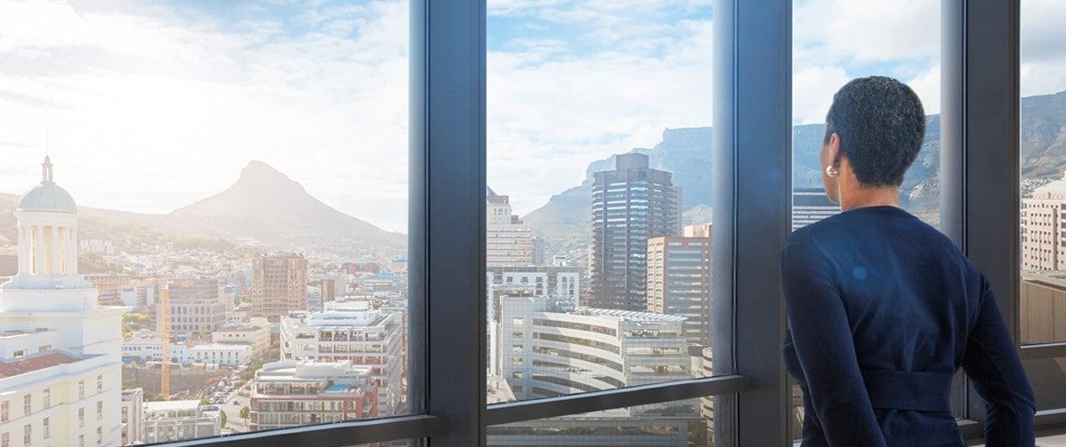 Office overlooking city