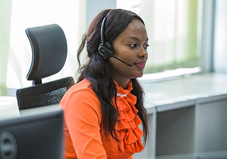 woman talking into headset