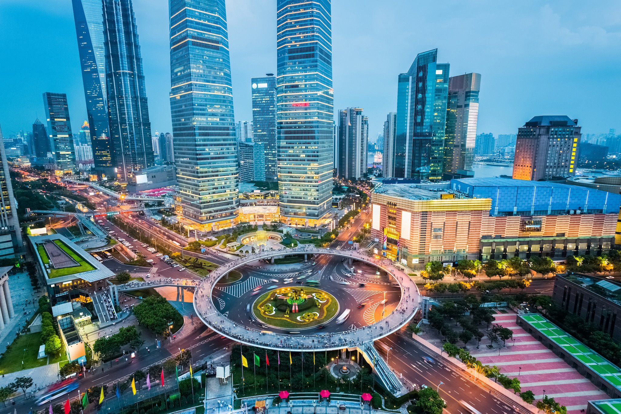 Central business district in Shanghai