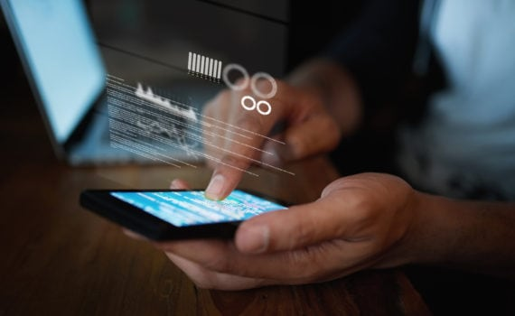 Person using a mobile app for digital payments