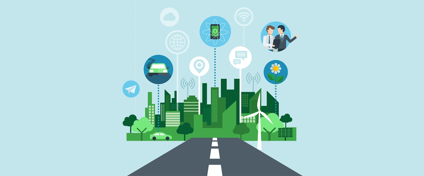 Illustration of a smart city with wireless connectivity and smart mobility