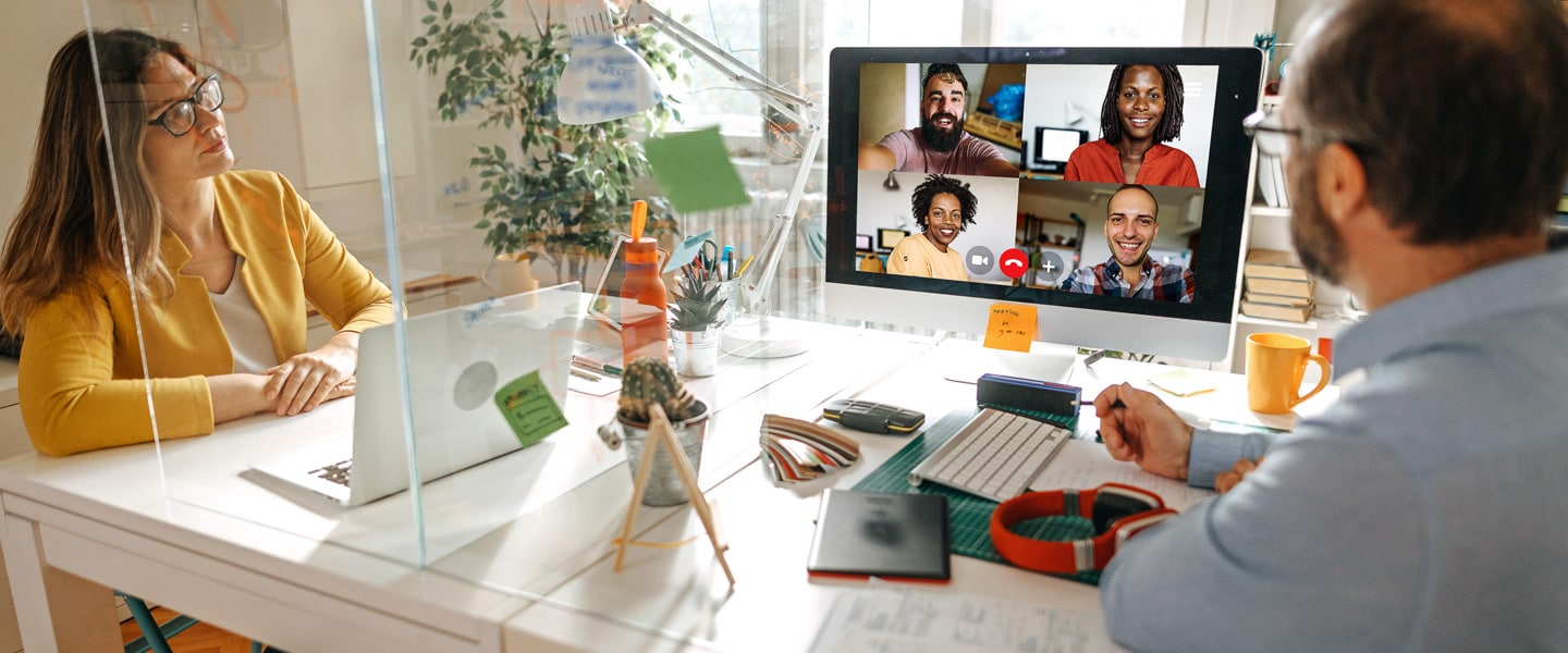 people having meeting over video call