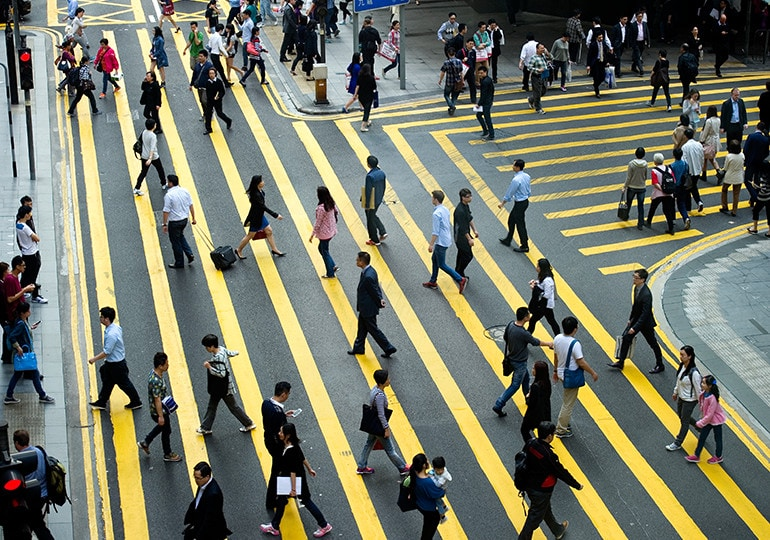 people using zebra crossing