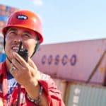 Man at shipping cargo port