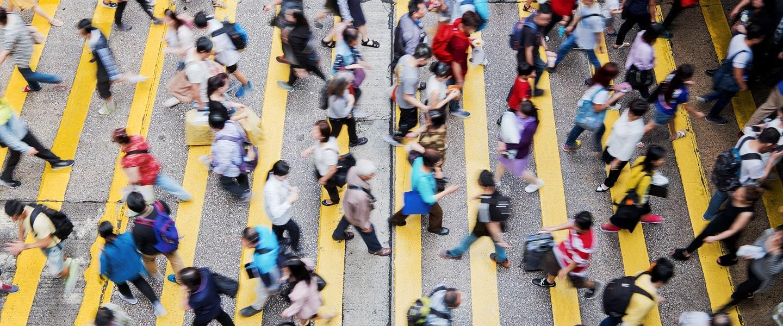 top down view of people using zebra crossing