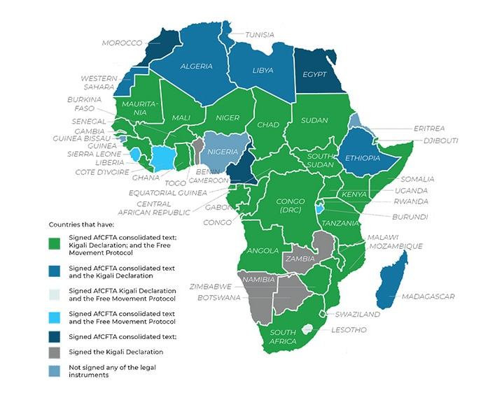 Graph showing countries that have signed the AfCFTA