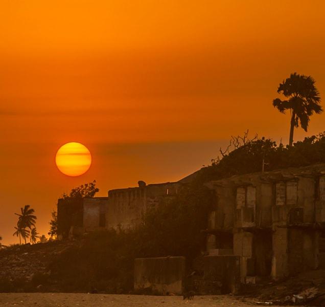 Sunset over the beach of Cape Coast, Ghana