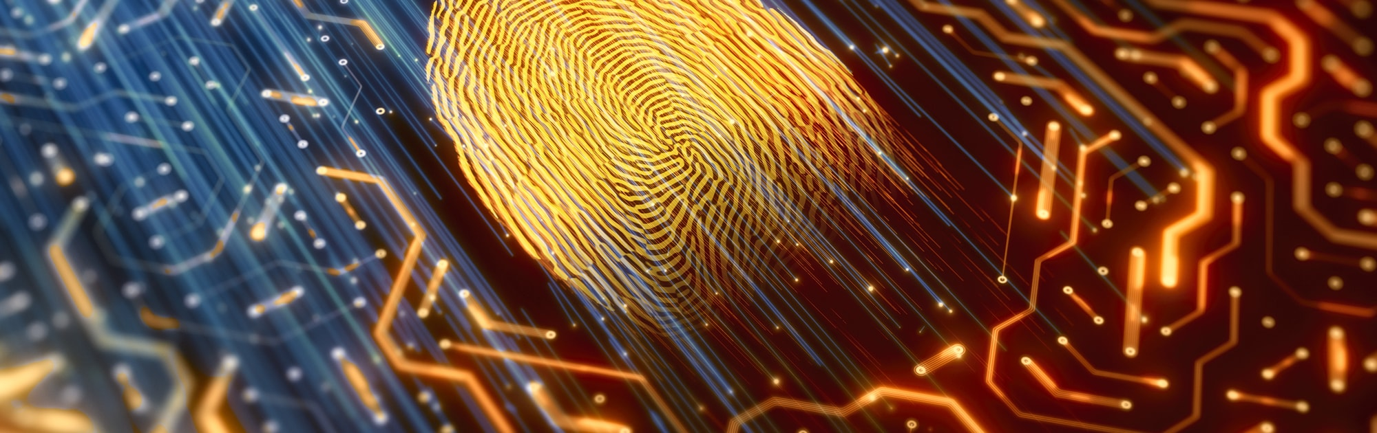 Blue lines through orange fingerprint