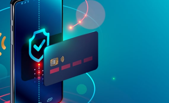 Mobile phone transacting with credit card, depicting fintech