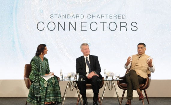 Max Baucus, Zarin Daruwala and Arvind Subramanian at the Standard Chartered Connectors Mumbai Event