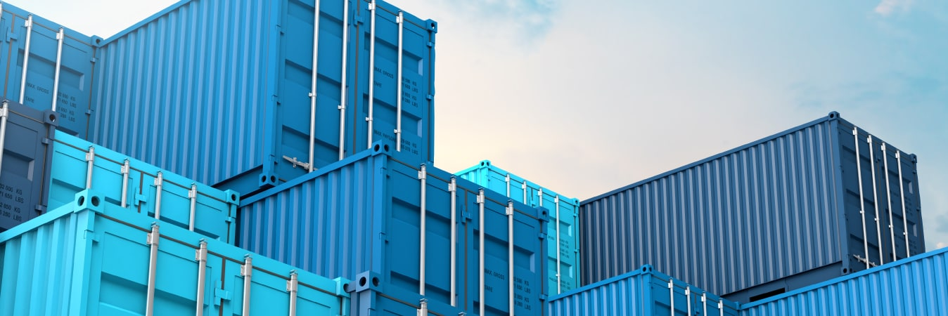 Blue shipping containers