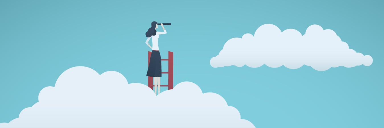 Cartoon lady standing at the top of a ladder over the clouds looking through binoculars