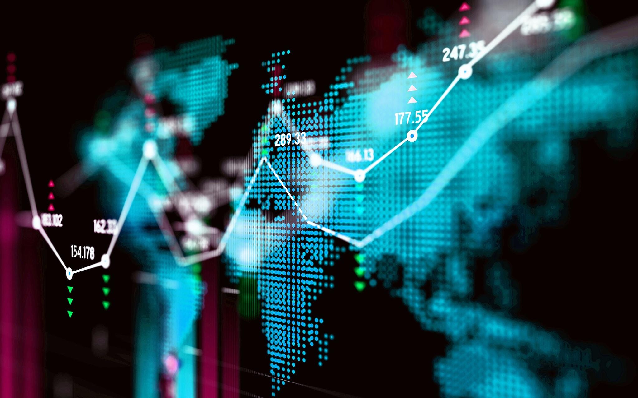 Financial data analysis graph over world map