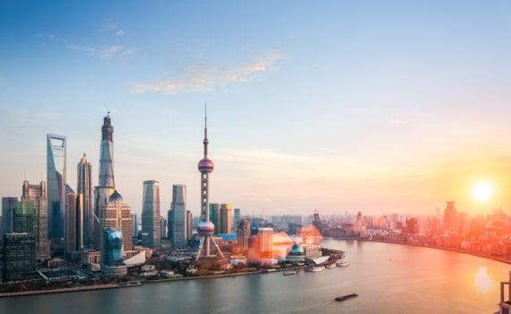 Beautiful shanghai at dusk, huangpu river and financial district skyline in sunset