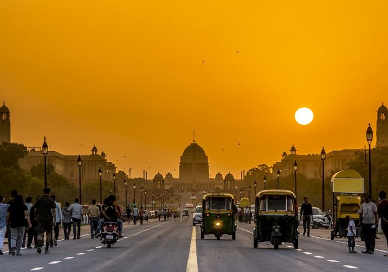 Sunset behind the President Residence, New Delhi