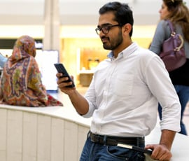Customer using mobile banking