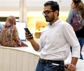 Customer using mobile banking