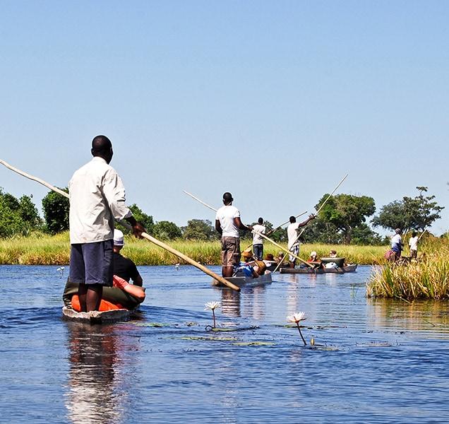 Canoe trip on the river through Okavango Delta