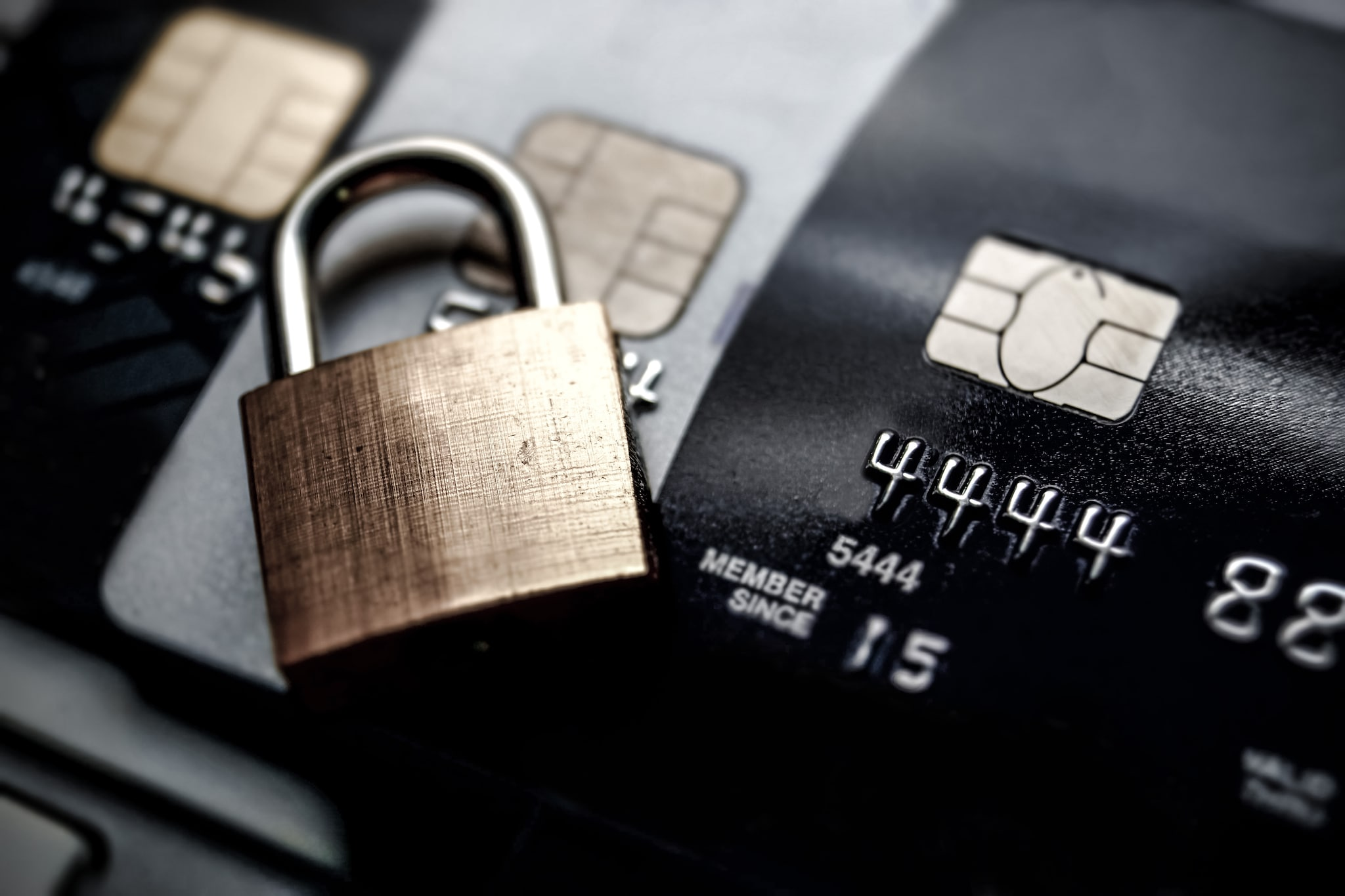 padlock over credit cards