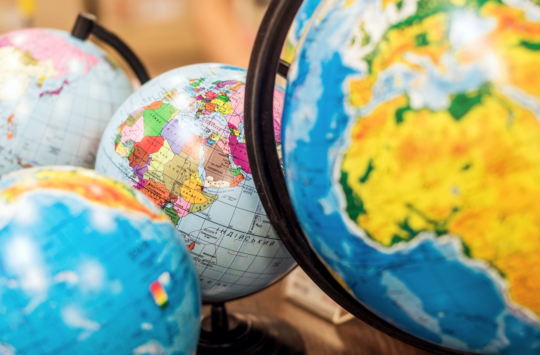 Collection of classroom globes