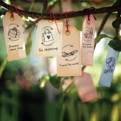 Wishing signs with wishes to spend is hanging on the tree