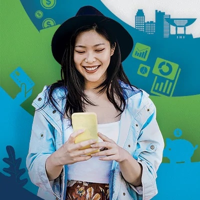 young girl excited browsing sc hk mobile app