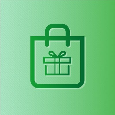 Green outlines of a gift box in a shopping bag