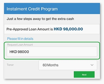 Showing pre-approved loan amount and interest rate