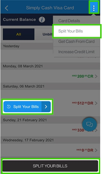 Log in to SC Mobile, click Split Your Bills in the transaction screen or the top right corner menu
