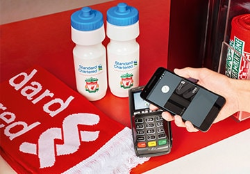 standard chartered and Liverpool FC souvenirs, and pay with SC Credit Card via Google Pay