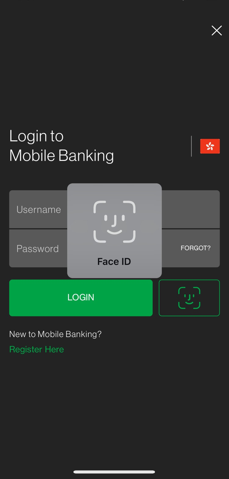 Log in through Touch/Face Login or username and password.