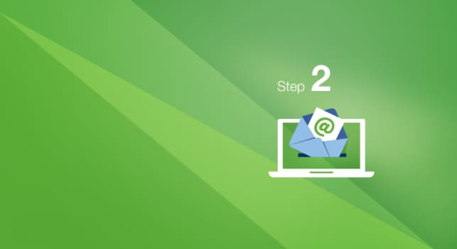 Step 2, cartoon laptop with an opened mail, containing a green @