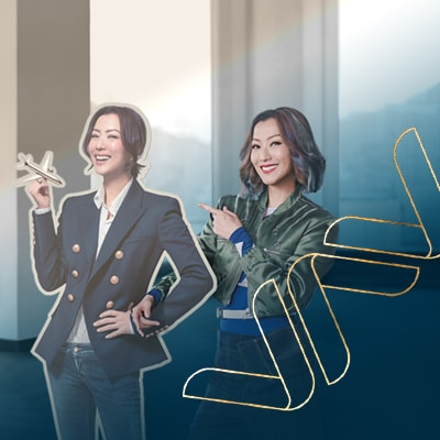 Sammi Cheng standing with her dummy stand holding an airplane model