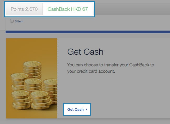 """Click the CashBack balance tab to switch catalogue. Select """"Get Cash"""" to convert CashBack to Cash."""