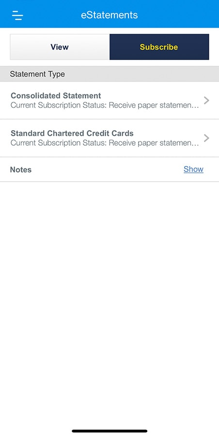 Tap the desired statement to subscribe for eStatements.