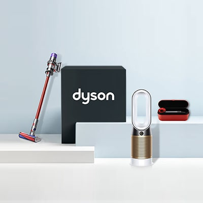 Dyson icon with several Duson home appliances