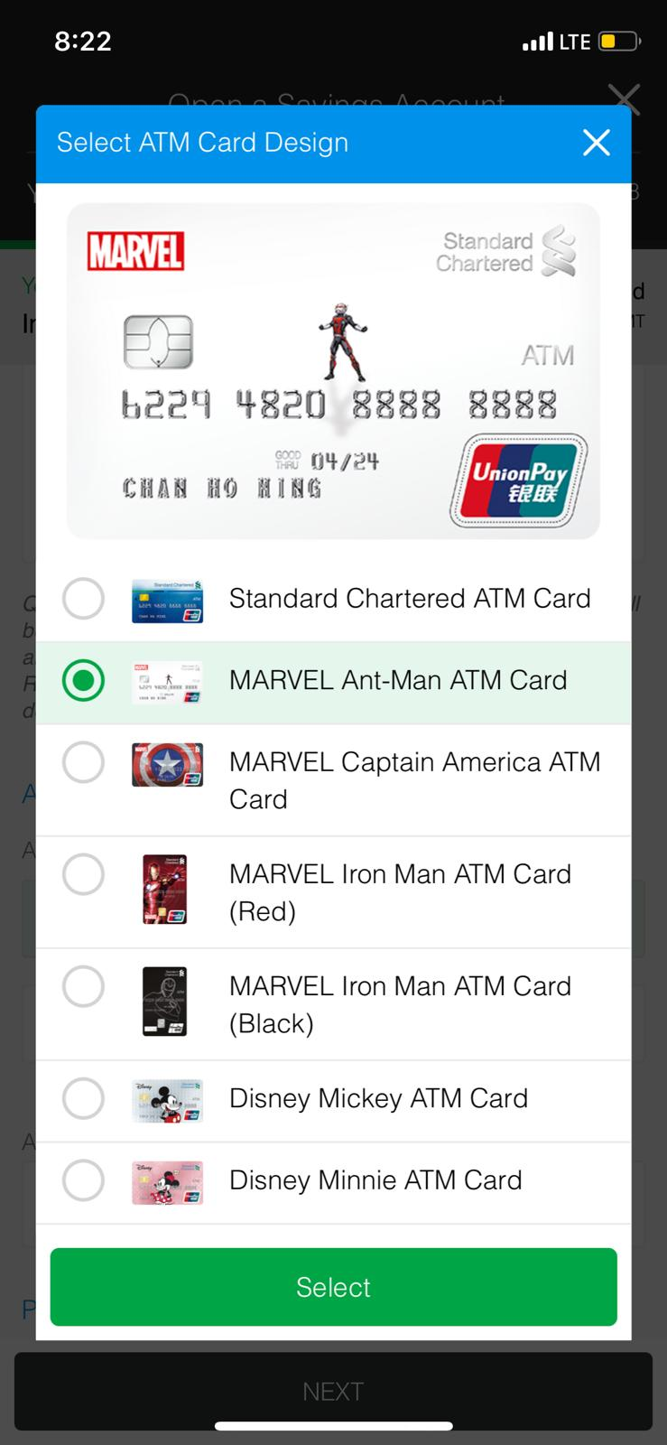 Select your desired ATM card design