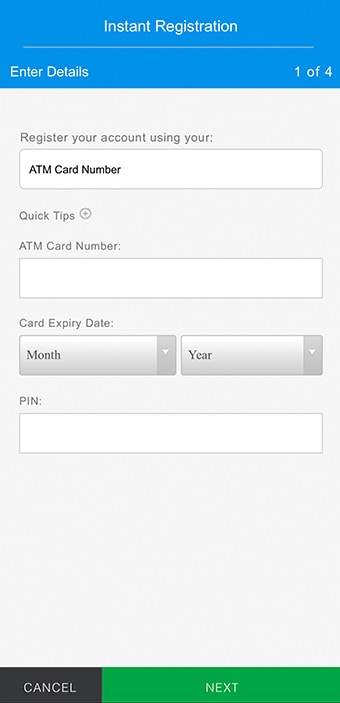 Register with ATM Card, Enter you ATM Card Number, Card Expiry Date and PIN.