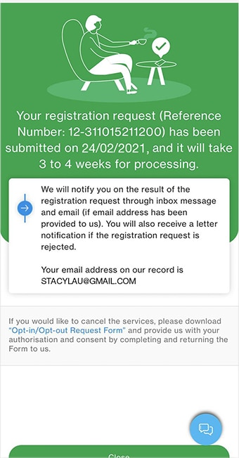 Display confirmation page after application submission