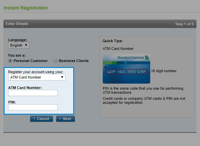Enter your ATM Card Number and PIN for register with ATM Card